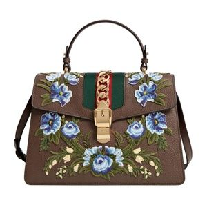 New Gucci Medium Sylvie Embroidered Leather Bag
